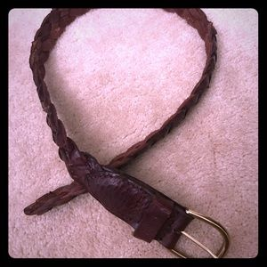 """35"""" Leather Braided Belt with Brass Hardware"""